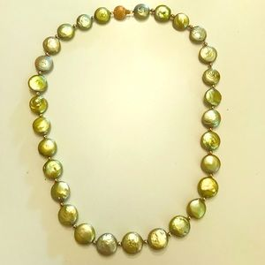 "Green Coin Pearl Necklace 18"" w/ 14k clasp"